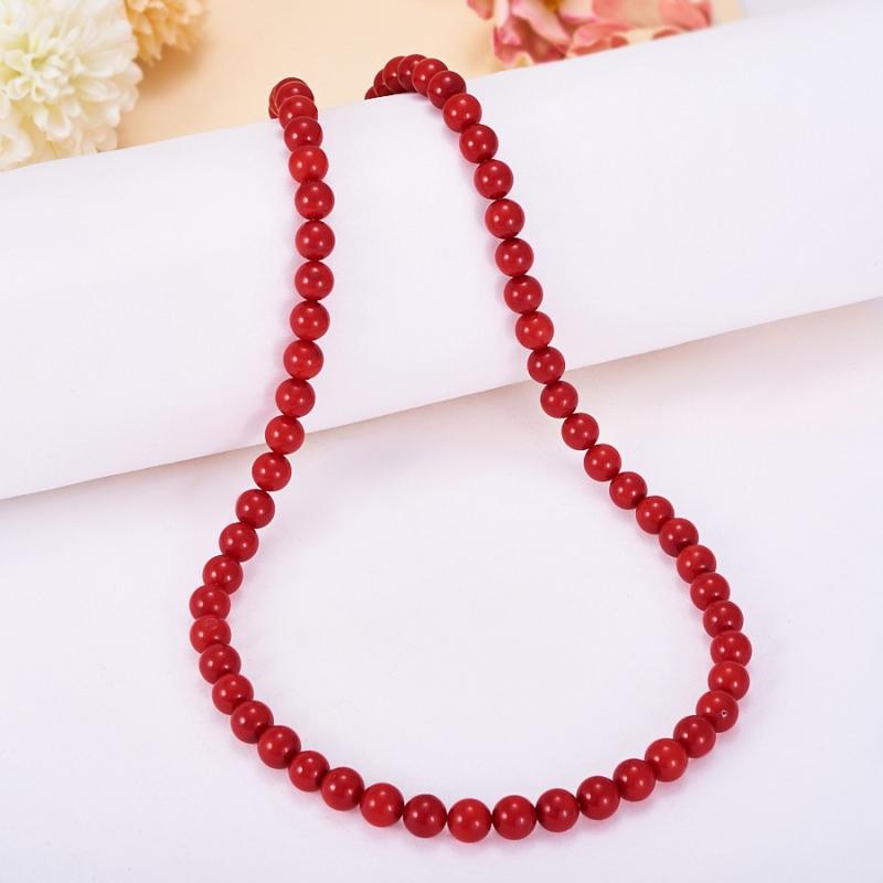 Бусы коралл красный  7 мм 44 см браслеты indira браслет бирюза коралл gl0143
