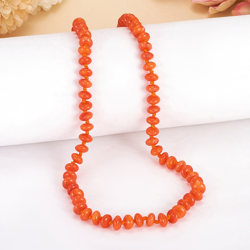 Бусы коралл оранжевый  6 мм 46 см
