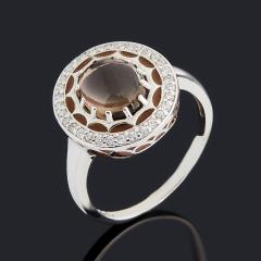 Кольцо раухтопаз Бразилия (серебро 925 пр., эмаль) размер 18,5