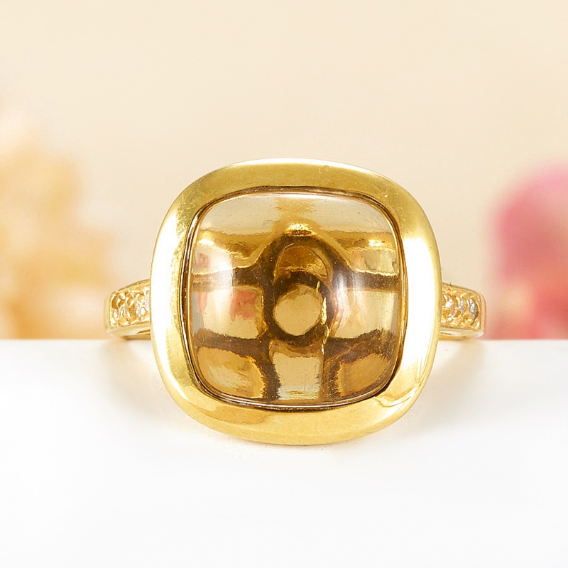 Кольцо цитрин  (серебро 925 пр., позолота) размер 18,5