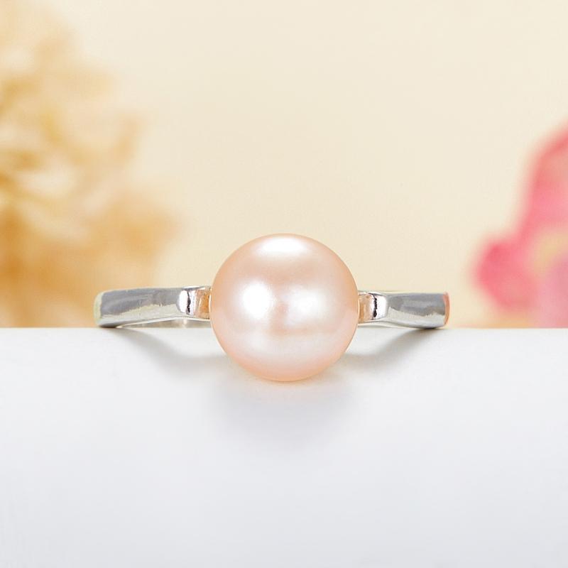 Кольцо жемчуг персиковый  (серебро 925 пр.) размер 18