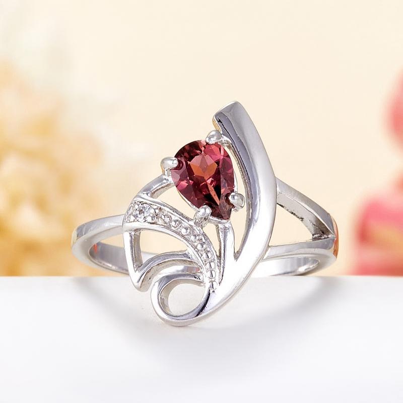 Кольцо турмалин розовый  огранка (серебро 925 пр.) размер 18