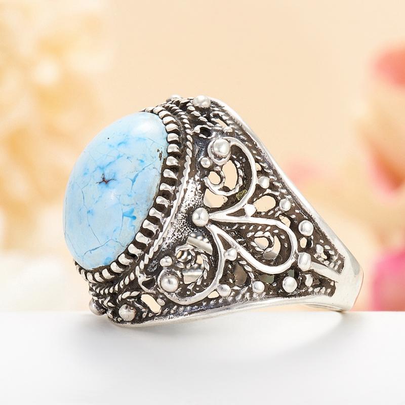 [del] Кольцо бирюза Казахстан (серебро 925 пр.) размер 23