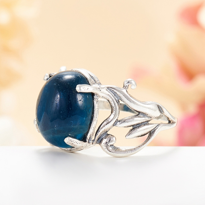 [del] Кольцо апатит синий Бразилия (серебро 925 пр.) размер 16