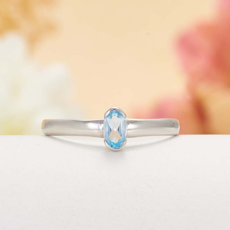 Кольцо топаз голубой  огранка (серебро 925 пр.) размер 16,5