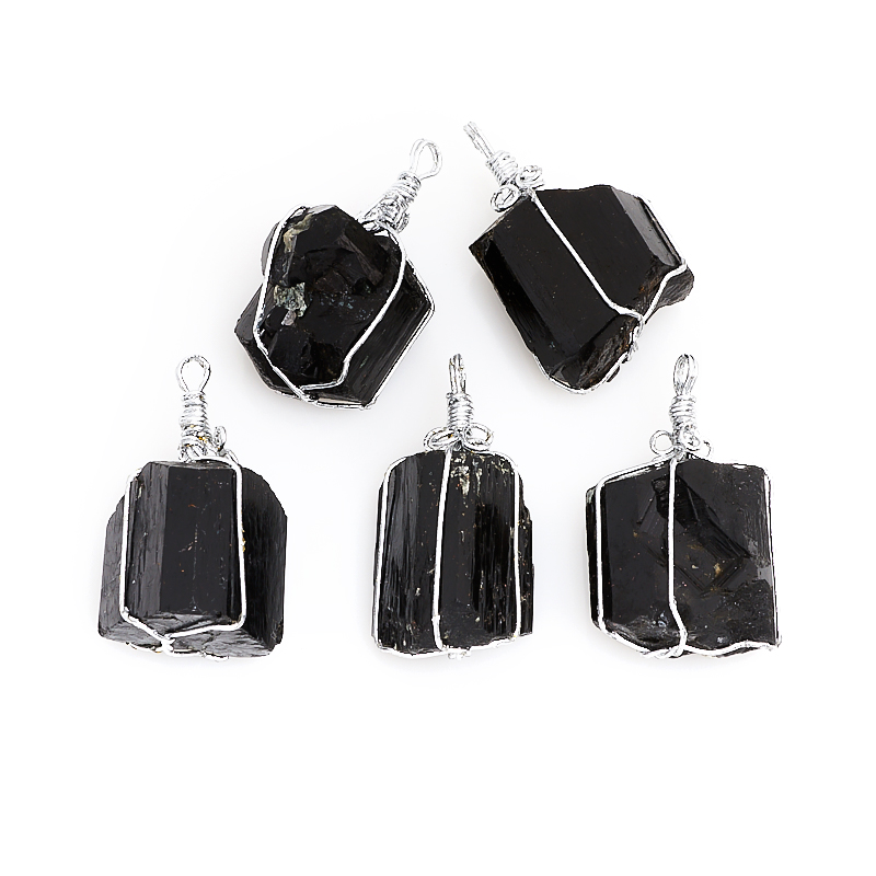 Кулон турмалин черный (шерл) кристалл (биж. сплав) 3-4 см