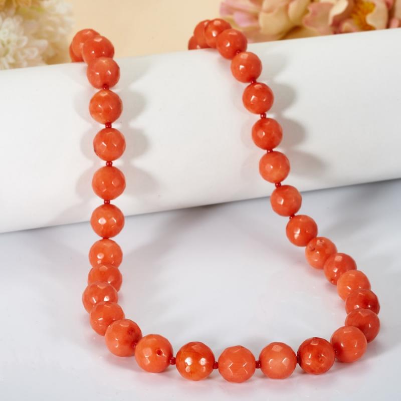Бусы длинные коралл оранжевый  огранка 10 мм 79 см