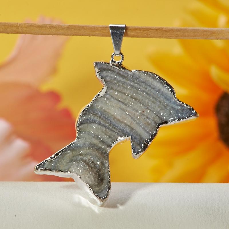 Кулон агат серый дельфин Ботсвана