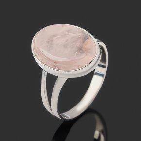 Кольцо розовый кварц Бразилия (серебро 925 пр. родир. бел.) размер 18,5