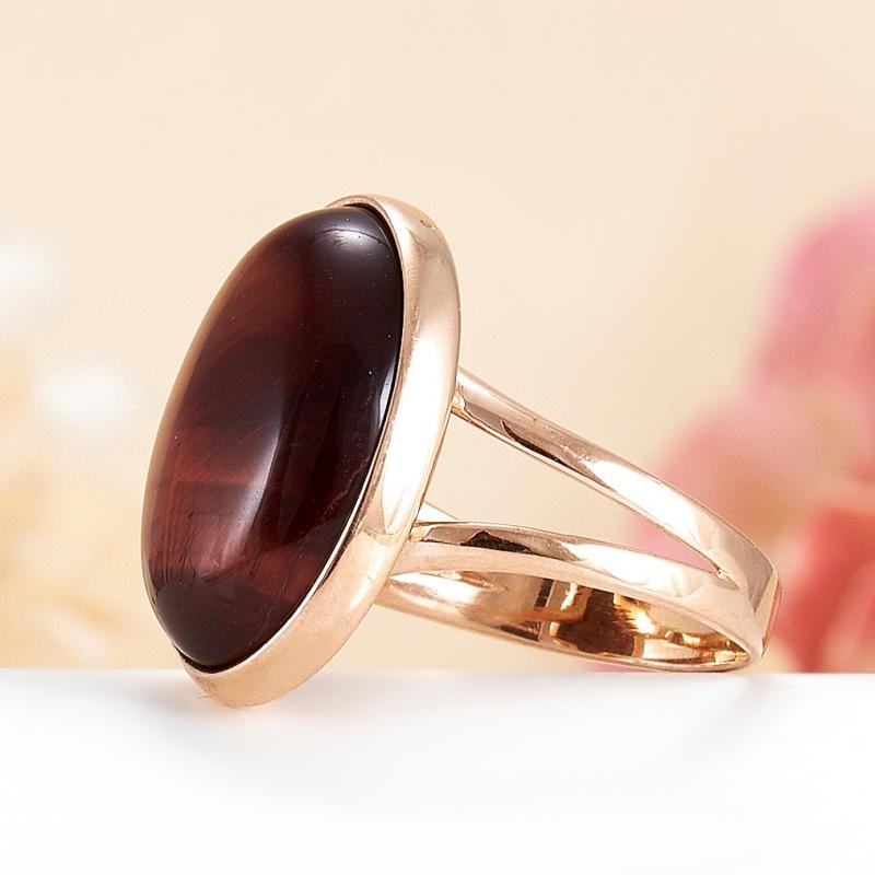 Кольцо бычий глаз ЮАР (серебро 925 пр., позолота) размер 19,5