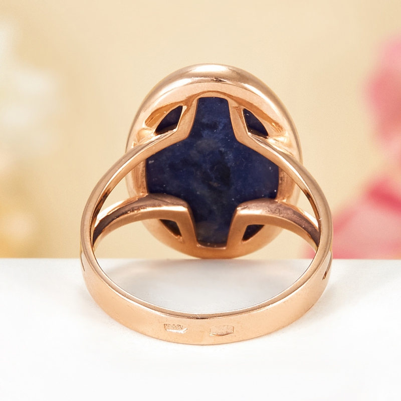 Кольцо содалит Бразилия (серебро 925 пр., позолота) размер 17