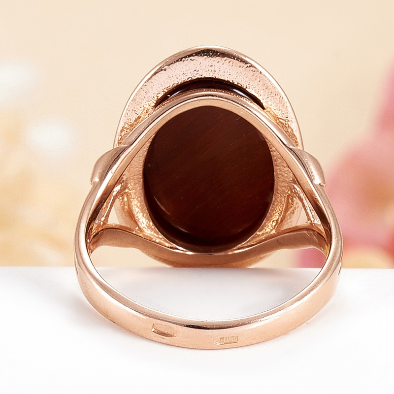 Кольцо бычий глаз ЮАР (серебро 925 пр., позолота) размер 14