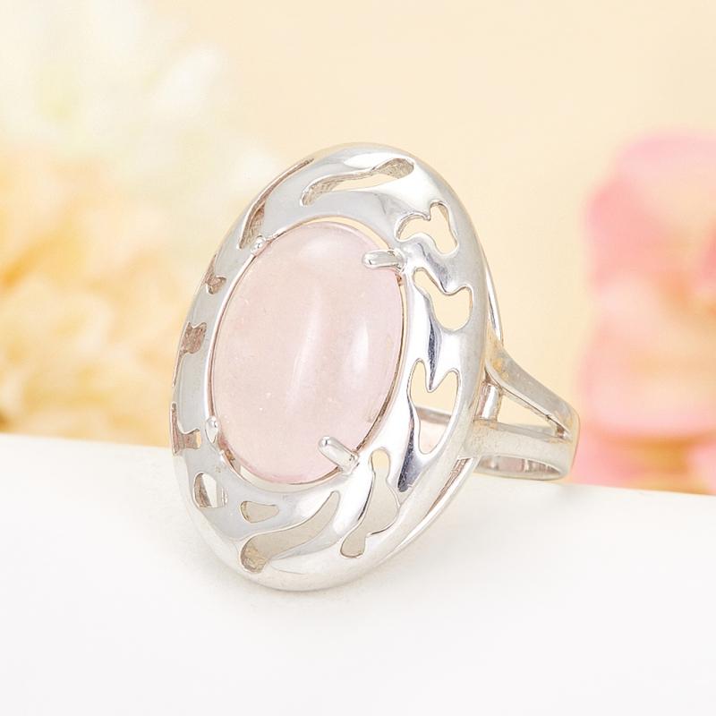 Кольцо розовый кварц  (серебро 925 пр.) размер 19