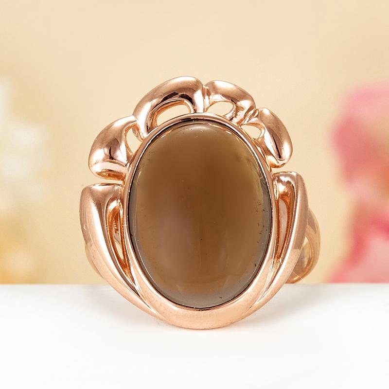 Кольцо раухтопаз  (серебро 925 пр., позолота) размер 18,5