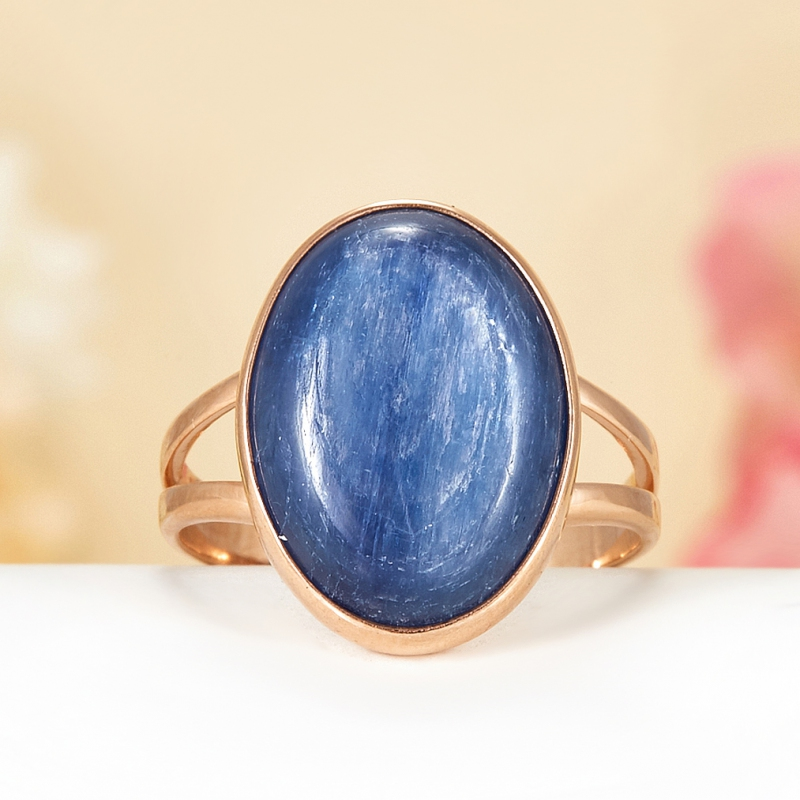 Кольцо кианит синий  (серебро 925 пр., позолота) размер 19