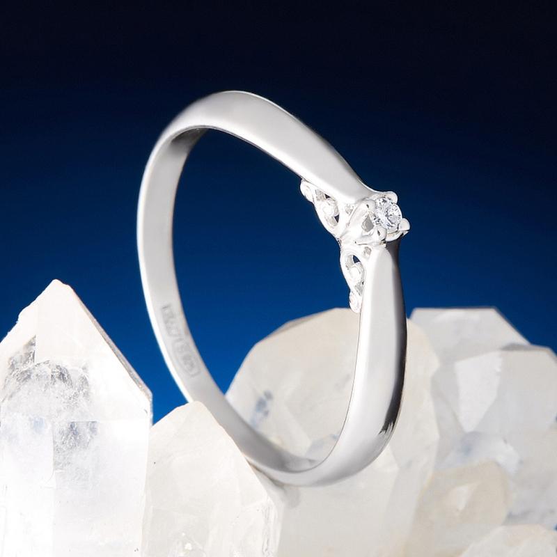 Кольцо бриллиант Россия огранка (серебро 925 пр.) размер 16,5