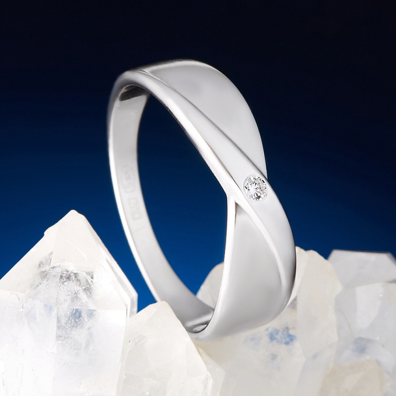 Кольцо бриллиант Россия огранка (серебро 925 пр.) размер 23