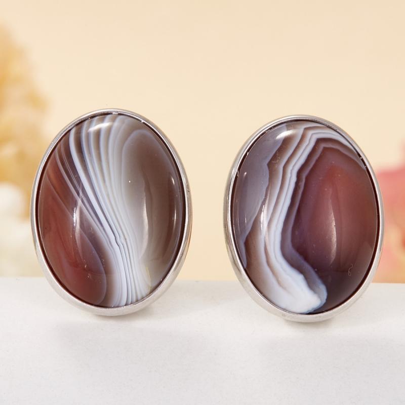 Серьги агат серый  (серебро 925 пр.)