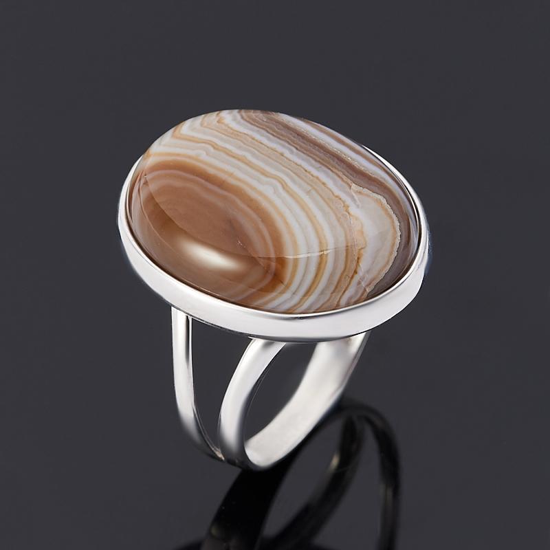 Кольцо агат серый (серебро 925 пр.) размер 17
