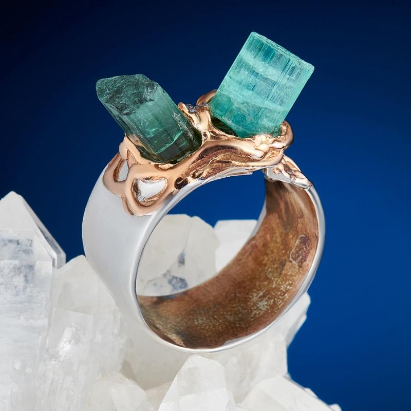 Кольцо апатит зеленый Россия (серебро 925 пр., позолота) размер 17,5