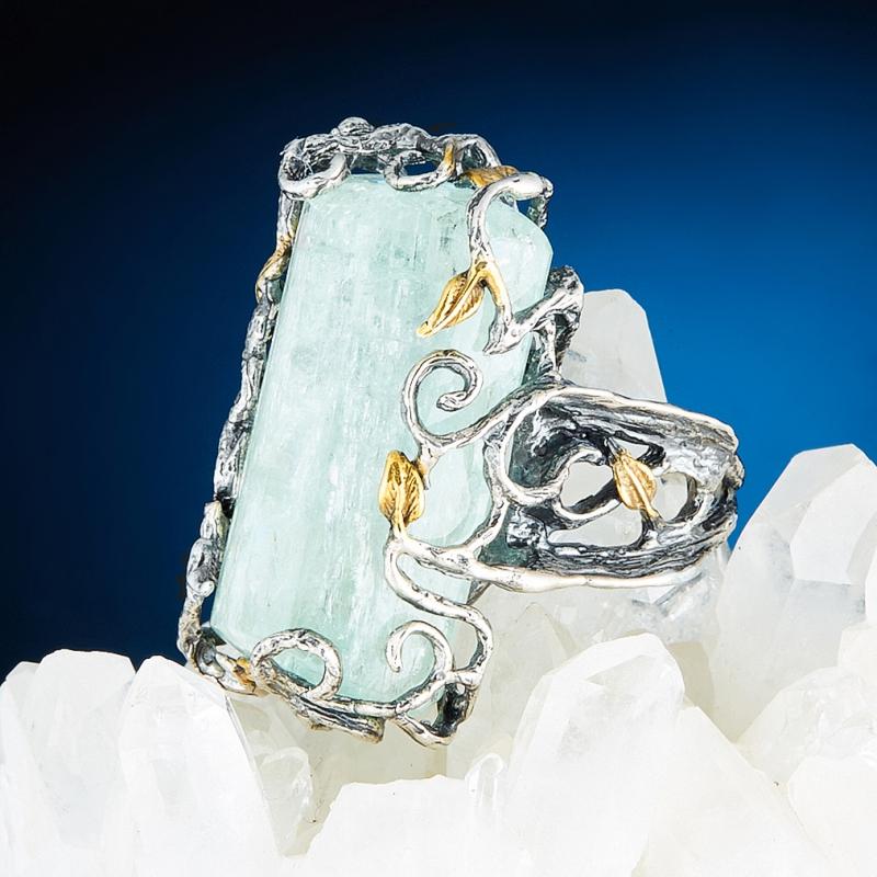 Кольцо аквамарин  (серебро 925 пр., позолота) размер 18