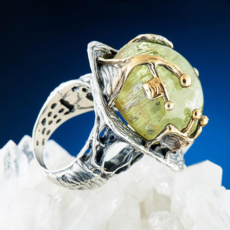 Кольцо берилл гелиодор Россия (серебро 925 пр., позолота) размер 17,5