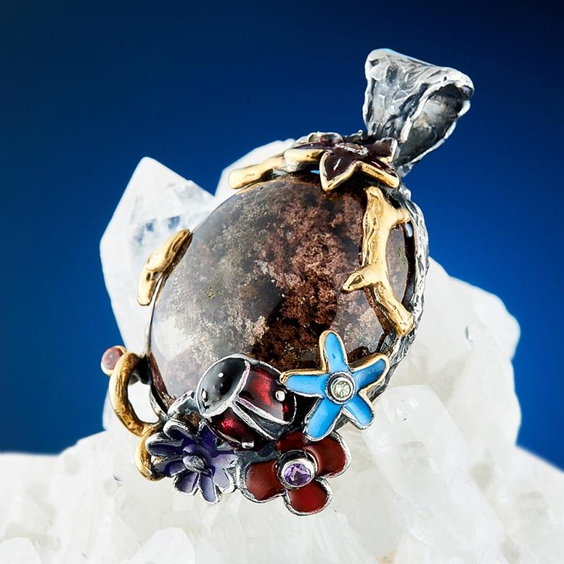 Кулон кварц  (серебро 925 пр., позолота)