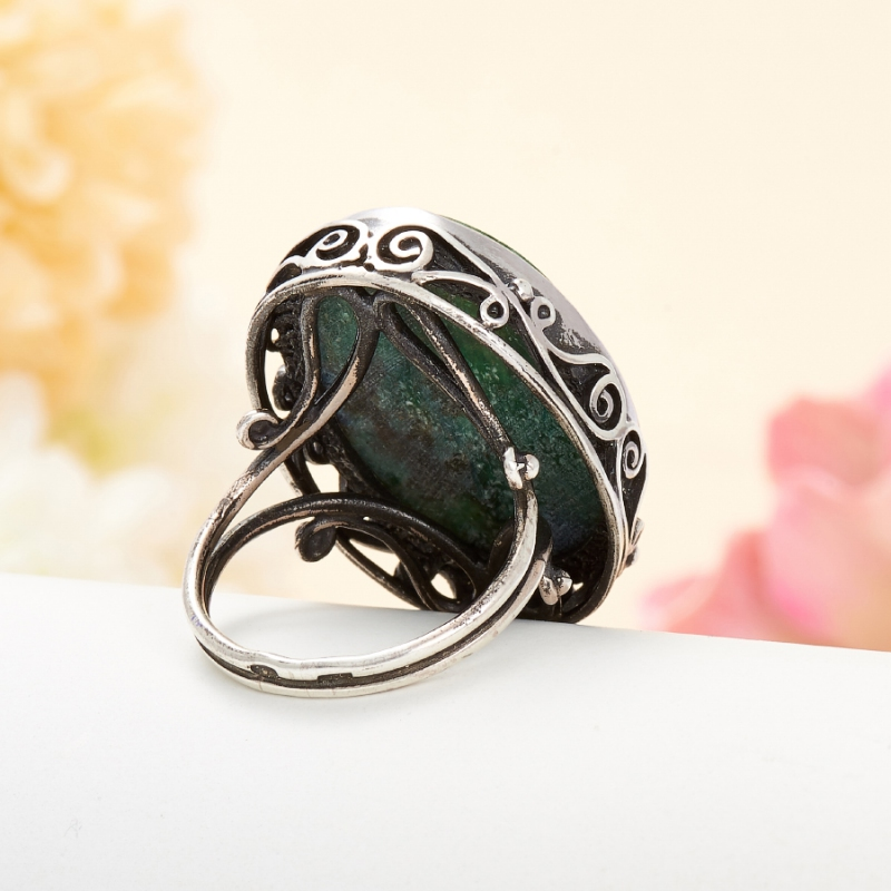 [del] Кольцо авантюрин зеленый Россия (серебро 925 пр.) размер 15