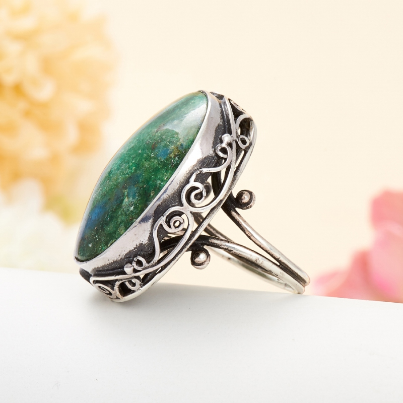 [del] Кольцо авантюрин зеленый Россия (серебро 925 пр.) размер 16