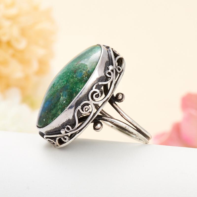 [del] Кольцо авантюрин зеленый Россия (серебро 925 пр.) размер 23