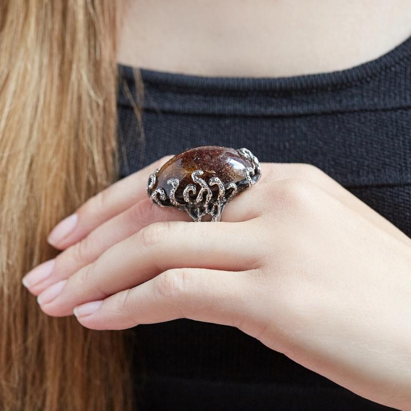 Кольцо солнечный камень Россия (серебро 925 пр.) размер 17