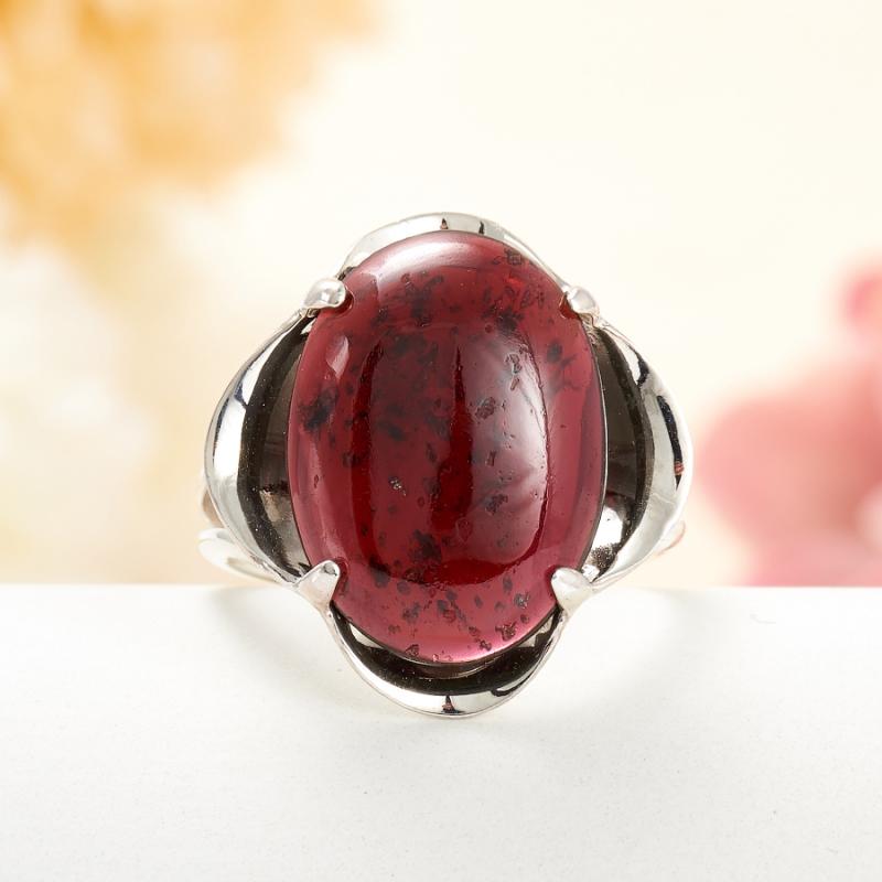 [del] Кольцо гранат альмандин Индия (серебро 925 пр.) размер 18