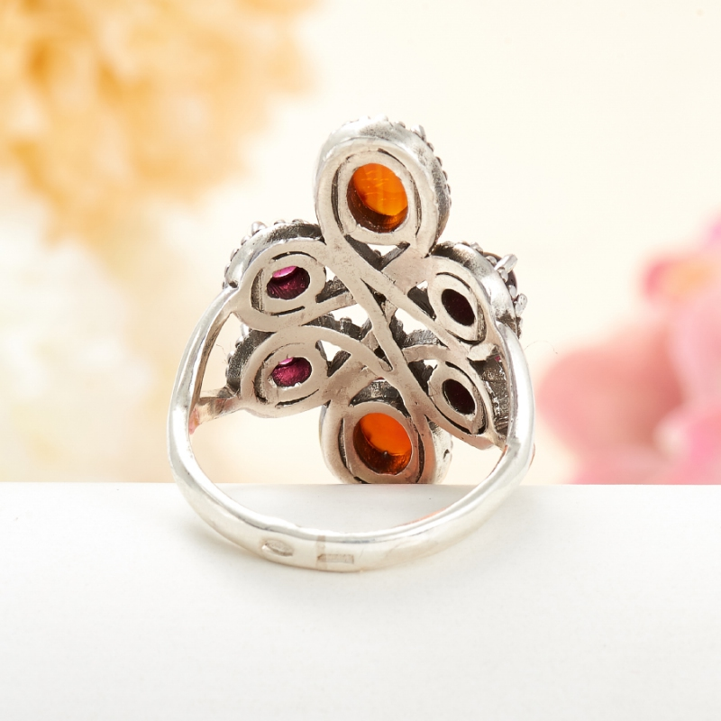 [del] Кольцо гранат альмандин, сердолик (серебро 925 пр.) размер 19