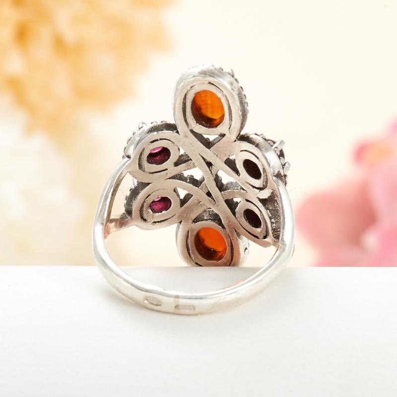 [del] Кольцо гранат альмандин, сердолик (серебро 925 пр.) размер 20