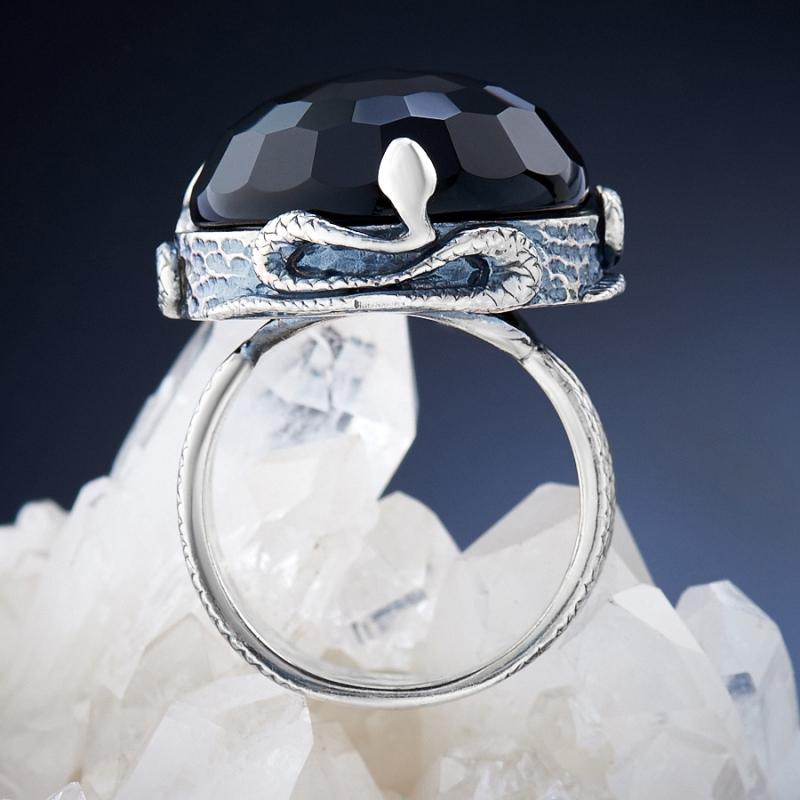 [del] Кольцо агат черный Бразилия огранка (серебро 925 пр.) размер 15