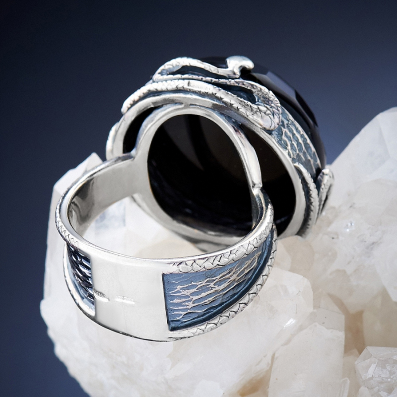 [del] Кольцо агат черный Бразилия огранка (серебро 925 пр.) размер 19