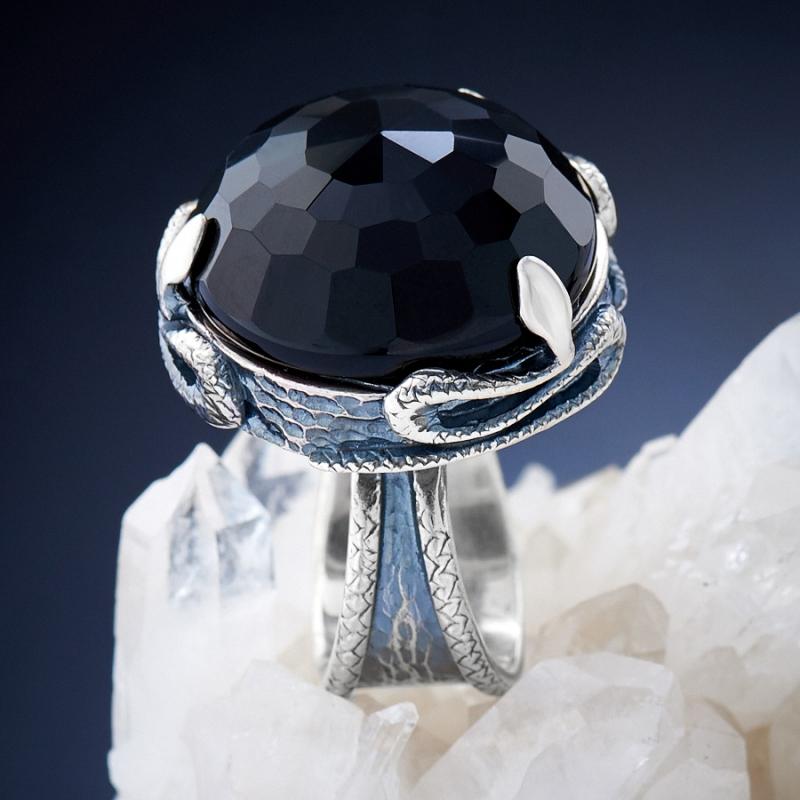 [del] Кольцо агат черный Бразилия огранка (серебро 925 пр.) размер 20