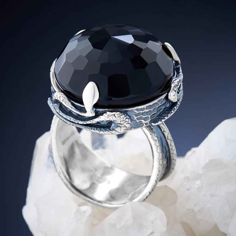[del] Кольцо агат черный Бразилия огранка (серебро 925 пр.) размер 21