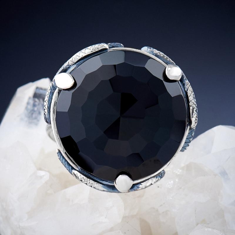 [del] Кольцо агат черный Бразилия огранка (серебро 925 пр.) размер 24,5