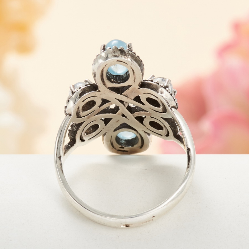 [del] Кольцо аквамарин, лунный камень (серебро 925 пр.) размер 15