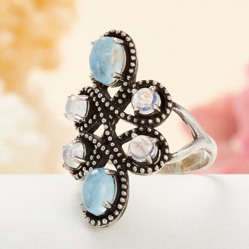 [del] Кольцо аквамарин, лунный камень (серебро 925 пр.) размер 16