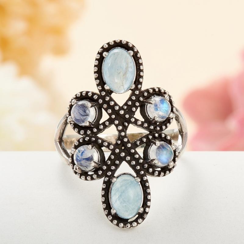 [del] Кольцо аквамарин, лунный камень (серебро 925 пр.) размер 16,5