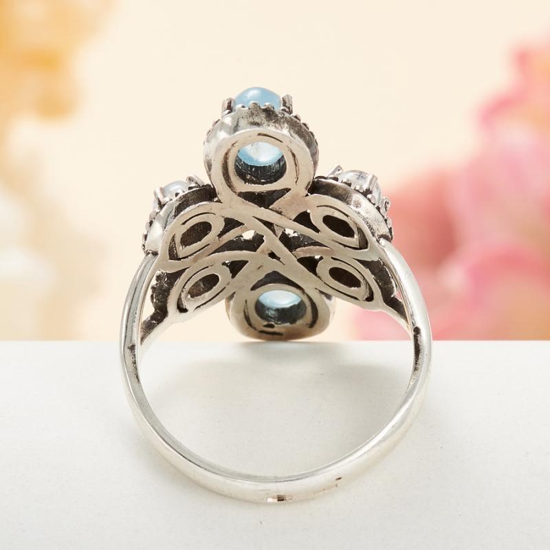 [del] Кольцо аквамарин, лунный камень (серебро 925 пр.) размер 22,5