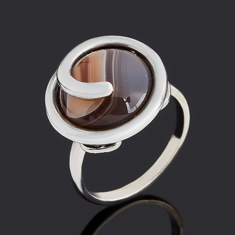 Кольцо агат серый Ботсвана (серебро 925 пр.) размер 19