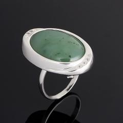 Кольцо нефрит зеленый Россия(серебро 925 пр.) размер 17,5