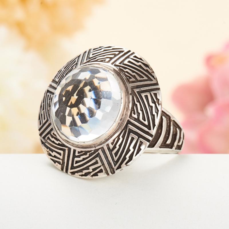 [del] Кольцо горный хрусталь Бразилия огранка (серебро 925 пр.) размер 24