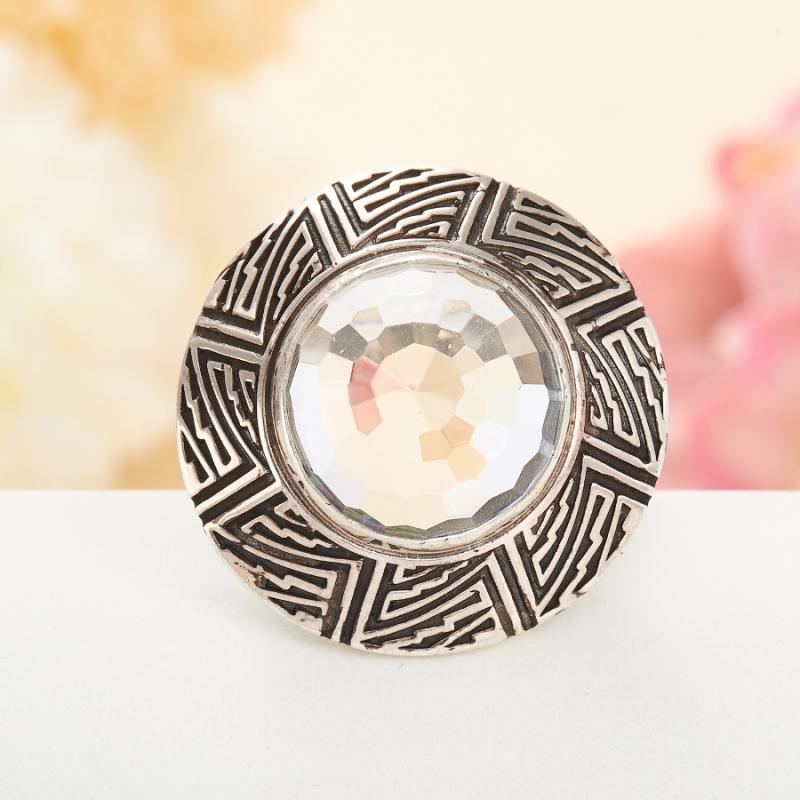 [del] Кольцо горный хрусталь Бразилия огранка (серебро 925 пр.) размер 25