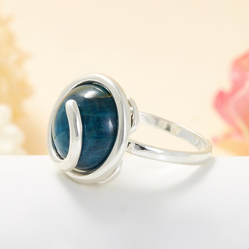 Кольцо апатит синий Бразилия (серебро 925 пр.) размер 23,5
