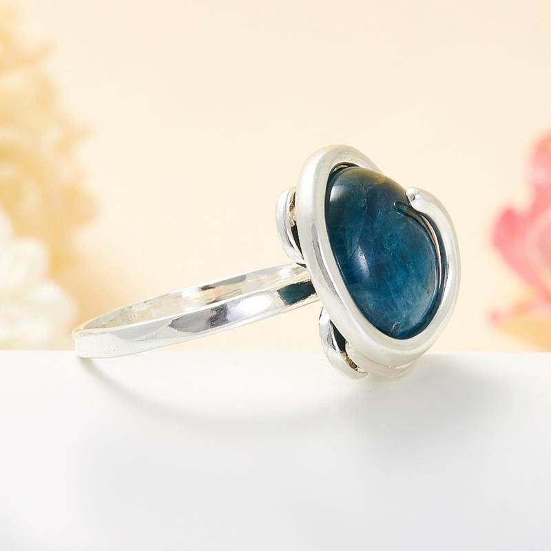 Кольцо апатит синий Бразилия (серебро 925 пр.) размер 24
