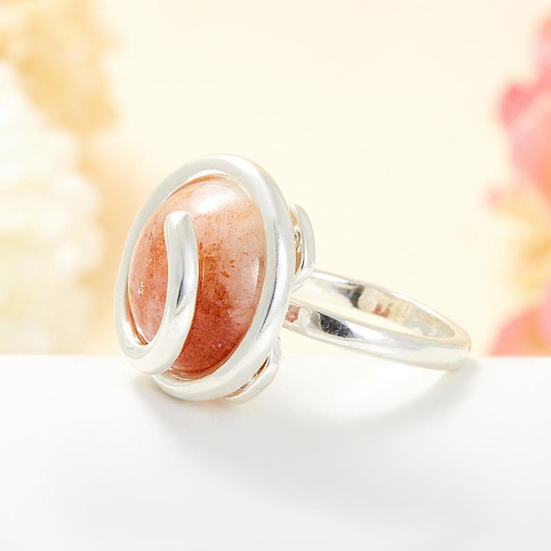 Кольцо солнечный камень Индия (серебро 925 пр.) размер 16